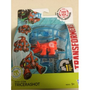 "TRANSFORMERS ACTION FIGURE 2,5"" - 5 cm MINI CON WEAPONIZER TRICERASHOT Robots in disguise Hasbro B6810"