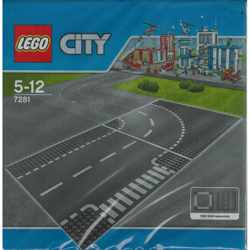 LEGO City Town T-Junction and Curve Plate 7281 Building Kit Free Shipping