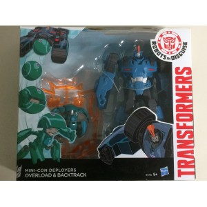 TRANSFORMERS ACTION FIGURE OVERLOAD & BACKTRACK mini con deployers Robots in disguise Hasbro B4716
