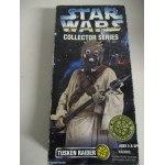 "STAR WARS 12"" ACTION FIGURE TUSKEN RAIDER damaged box packaged with right weapons"