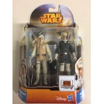 "STAR WARS 3.75"" - 9 cm ACTION FIGURE LUKE SKYWALKER - HAN SOLO HOTH OUTFIT double pack Hasbro MS 15"