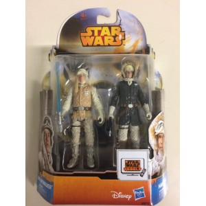 """STAR WARS 3.75"""" - 9 cm ACTION FIGURE LUKE SKYWALKER - HAN SOLO HOTH OUTFIT double pack Hasbro MS 15"""